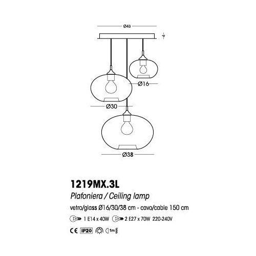 Cangini & tucci plafon parigi cipolla (szkło gładkie) - 1219mx.3l marki Cangini&tucci