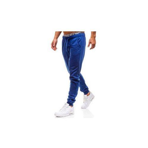 Spodnie męskie dresowe joggery kobaltowe Denley KK303