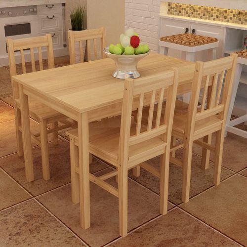 Drewniany zestaw - 4 krzesła i stolik marki Vidaxl