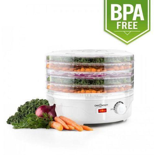 oneConcept Bonsai suszarka do owoców i warzyw 5 poziomów dehydrator 250W biały