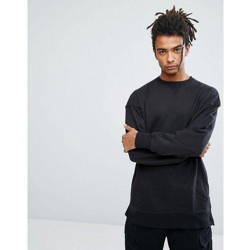 dropped shoulder sweatshirt with crew neck in black - black marki New look