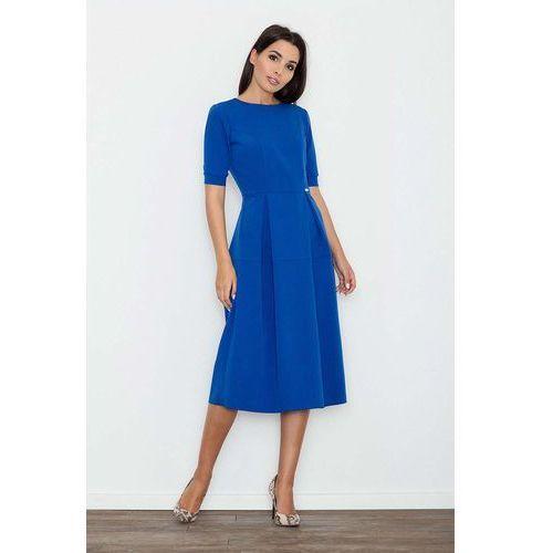 Niebieska sukienka elegancka wizytowa midi marki Figl