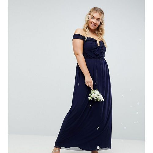 ASOS DESIGN Curve ruched mesh bardot maxi dress - Navy