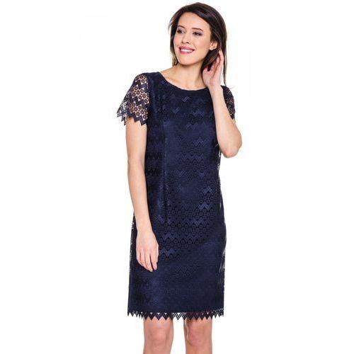 Koronkowa sukienka w kolorze granatowym - Potis & Verso, kolor niebieski