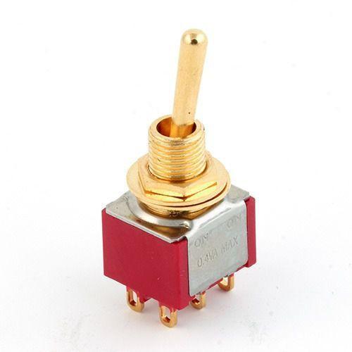 mini toggle switch gold on - on dpdt przełącznik gitarowy marki Mec