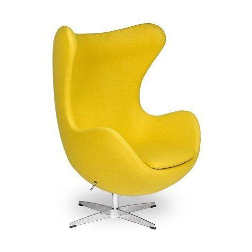 Żółty Fotel JAJO Wełna Naturalna Inspirowany Projektem Egg Chair | Sklep z meblami DesignTown (5902385700757)