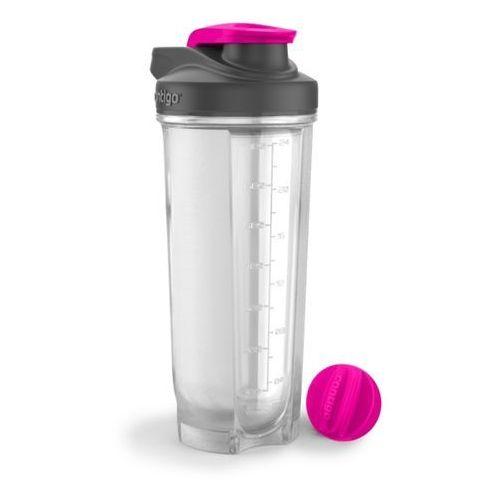 Contigo + dr.bacty Zestaw na fitness - shaker do odżywek contigo shake&go fit 820ml neon pink + ręcznik szybkoschnący dr.bacty czerwony m - różowo-czerwony