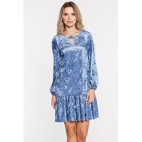 adefb7053d Szafirowa welurowa sukienka z falbanką - L ame de Femme