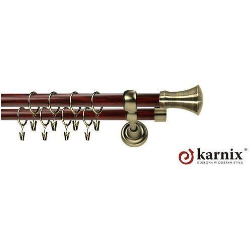 Karnisz metalowy prestige podwójny 25/16mm monaco antyk mosiądz - mahoń, marki Karnix