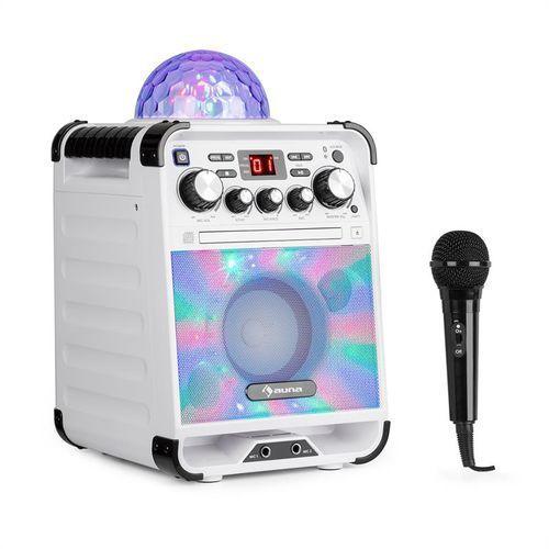 rockstar led zestaw do karaoke odtwarzacz cd bluetooth usb biały marki Auna