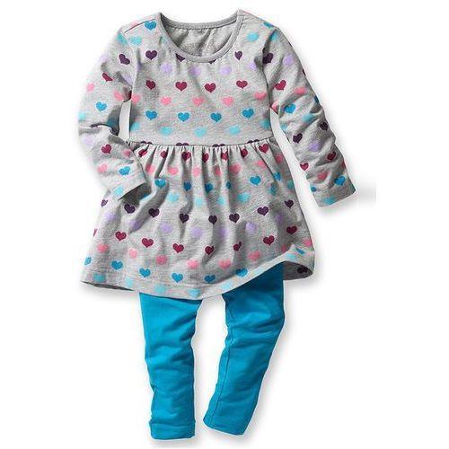Sukienka + legginsy (2 części) bonprix jasnoszary melanż - ciemnoturkusowy w serduszka (sukienka dziecięca)