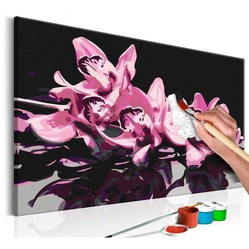 Obraz do samodzielnego malowania - Różowa orchidea (czarne tło)