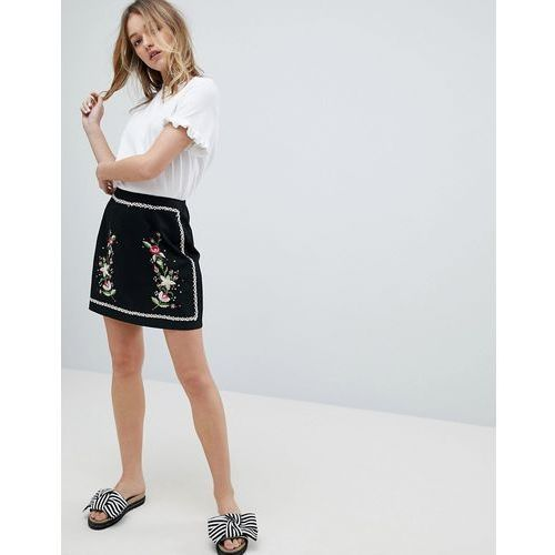 floral embroidered mini skirt - black, New look
