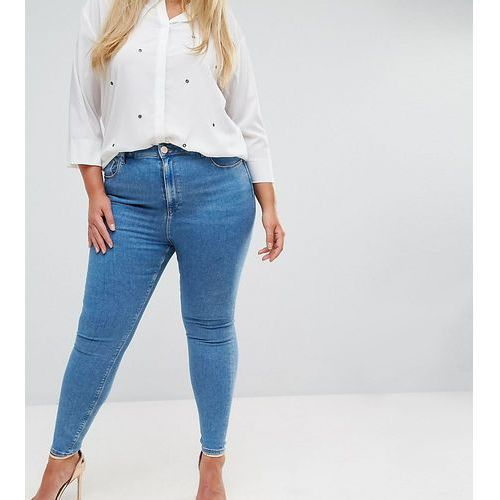 ASOS DESIGN Curve Ridley high waist skinny jeans in light wash - Blue, z