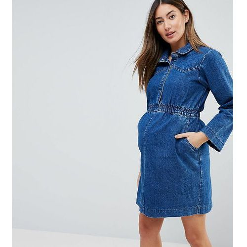 ASOS DESIGN Maternity denim shirt dress in midwash blue with elastic waist - Blue