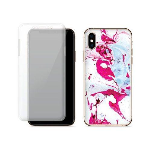 Apple iPhone XS - etui na telefon Full Body Slim Fantastic - różowy marmur, kolor różowy