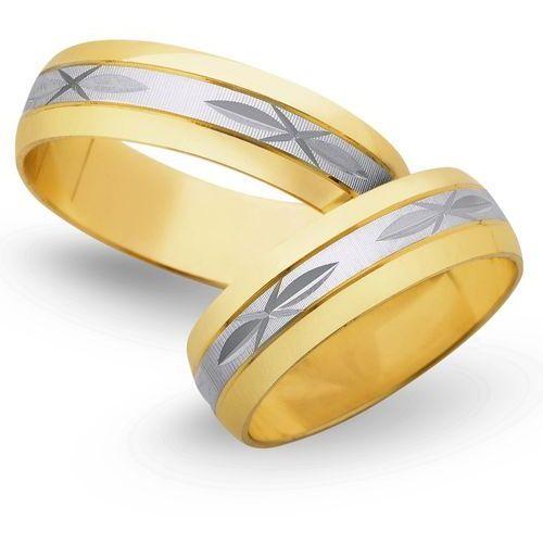 Świat złota Obrączki ślubne z żółtego i białego złota 5mm - o2k/015, kategoria: obrączki ślubne