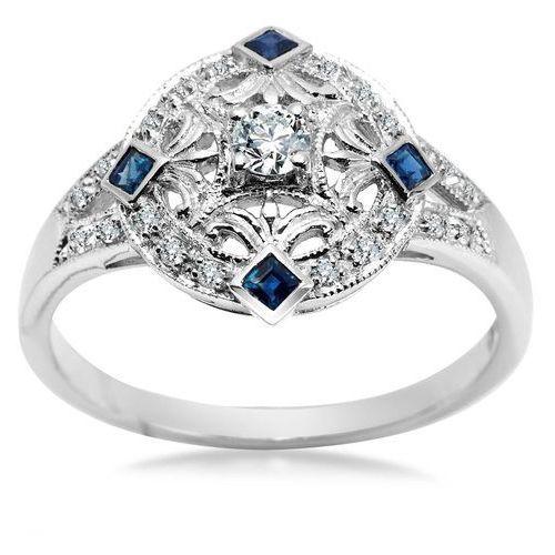Royal Diamonds - złoty pierścionek z brylantami i szafirami, Biżuteria YES