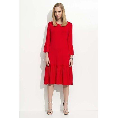 Czerwona sukienka w hiszpańskim stylu z wycięciem na plecach, Makadamia, 36-40