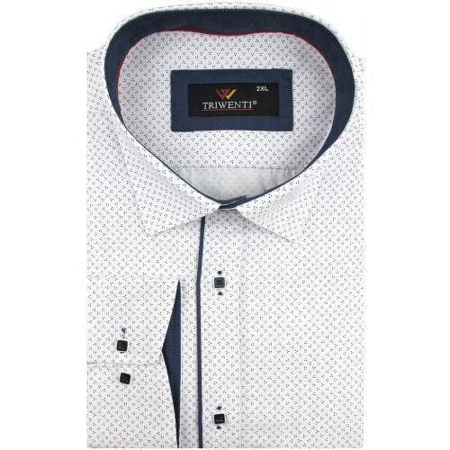 67149e6262f5c5 Triwenti Duża koszula męska biała w kropki na długi rękaw duże rozmiary  a007 68,00 zł Oddajemy w Państwa ręce wysokiej klasy koszulę męską firmy  Triwenti.