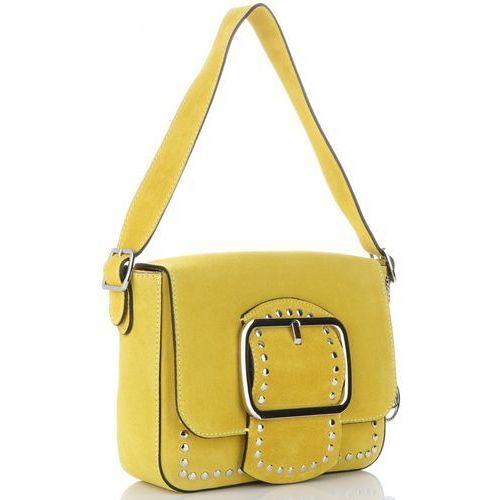 6318a881d306d Vittoria gotti eleganckie torebki skórzane listonoszki w stylu glamour  żółte (kolory) 249