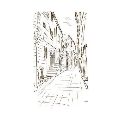Fototapeta Stare budynki w typowo średniowiecznego miasta włoskiego - ilustracja, Redro z REDRO
