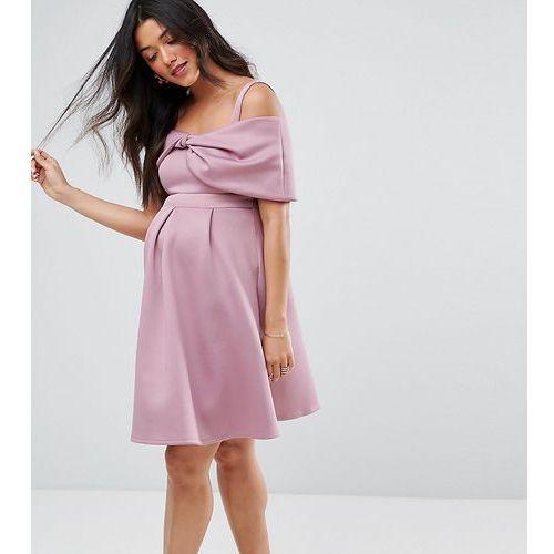 ASOS Maternity Bow Front Off the Shoulder Bardot Skater Mini Dress - Purple