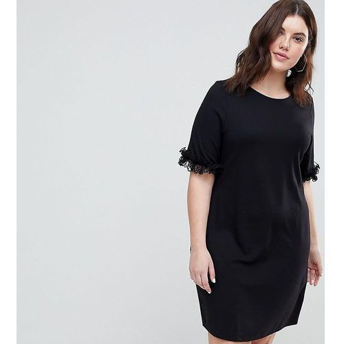 ASOS CURVE T-Shirt Dress In Ponte With Lace Frill Sleeve - Black, 1 rozmiar