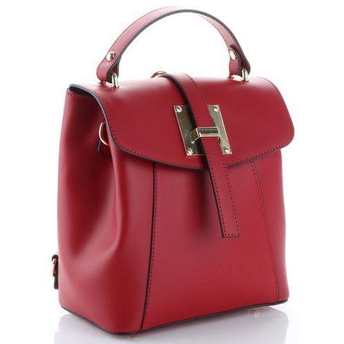 Eleganckie włoskie torebki skórzane firmowe plecaczki damskie bordowe (kolory) marki Vittoria gotti