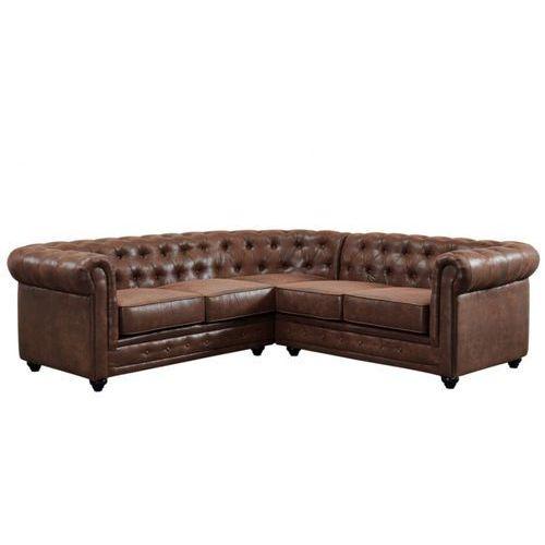 Vente-unique Sofa narożna chesterfield z mikrofibry o wyglądzie postarzanej skóry