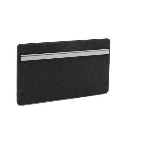 Wzmocniona ścianka biurkowa Zip z funkcjonalną szyną 1200x650 mm ciemnosz