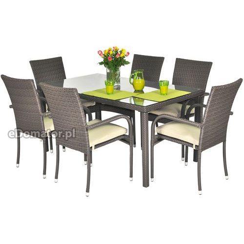 Stół ogrodowy z technorattanu MALAGA - brązowy - brązowy