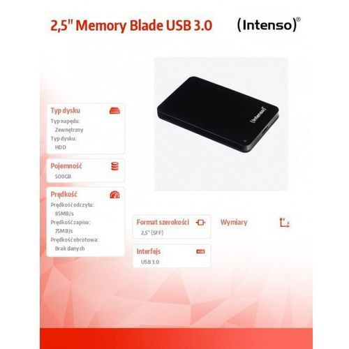 Intenso 500gb 2.5'' hdd usb 3.0 zewnętrzny memoryblade czarny darmowa dostawa do 400 salonów !! (4034303014347)