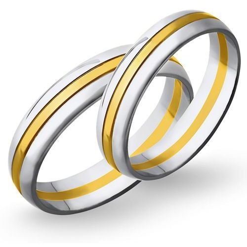 Świat złota Obrączki ślubne z żółtego i białego złota 5mm - o2k/075, kategoria: obrączki ślubne