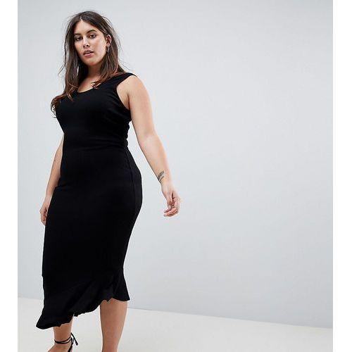 ASOS DESIGN Curve maxi vest dress with scoop back and asymmetric frill hem - Black, kolor czarny