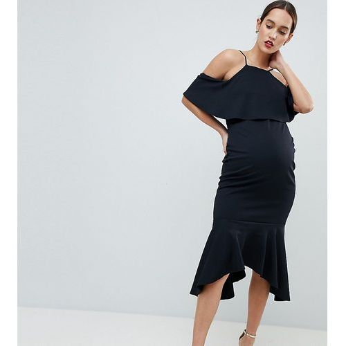 ASOS DESIGN Maternity Ruffle Cold Shoulder Asymmetric Pephem Midi Dress - Black, kolor czarny