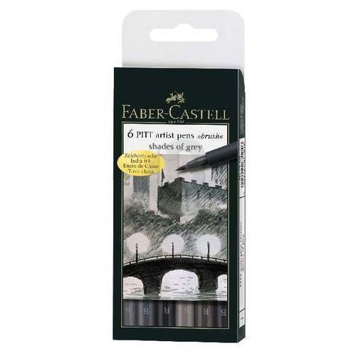 Zestaw 6 pisaków pitt artist pen brush faber-castell (szarości) marki Faber castell