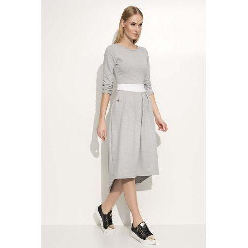 Szara Sukienka Asymetryczna Midi z Podkreśloną Talią, asymetryczna