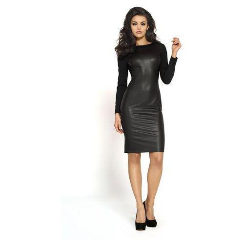 9c3b664d2d Czarna nowoczesna sukienka z eko-skóry marki Kartes moda 195