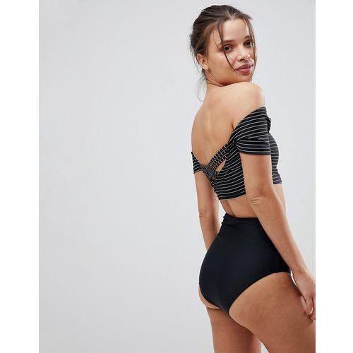 French Connection Stripe Cap Sleeve Bikini Set With High Waist Bottoms - Black