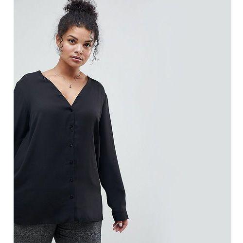 Asos design curve long sleeve v neck blouse - black marki Asos curve