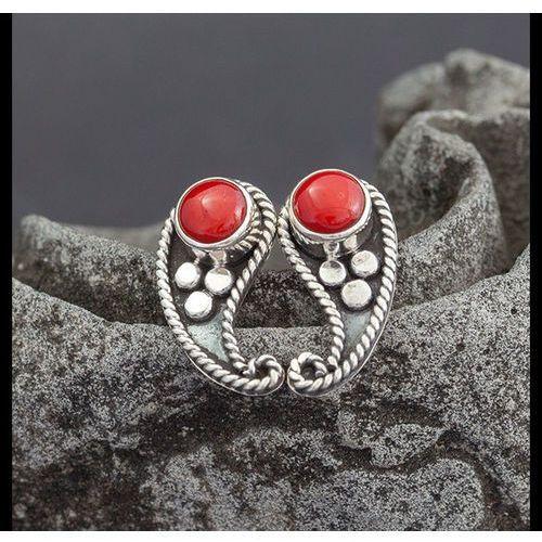 Koral w srebrze - kolczyki, produkt marki Adorre