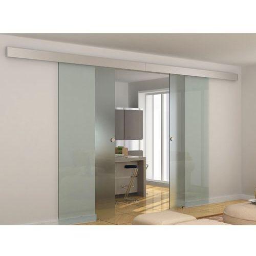 Vente-unique Naścienne podwójne drzwi przesuwne alina - wys. 205 × szer. 166 cm - szkło hartowane