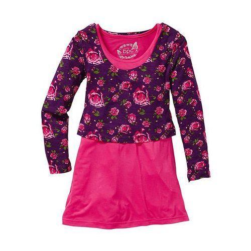 Sukienka + shirt (2 części) bonprix ciemnoróżowy z nadrukiem (sukienka dziecięca)