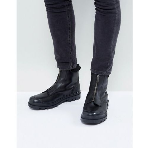 chelsea boots in black leather with front zip detail and cleated sole - black marki Asos