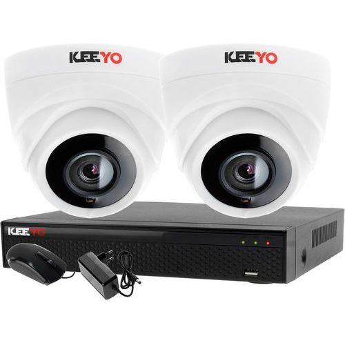 Monitoring 2 kamery zestaw do monitoringu firmy biura rejestrator 4 kanałowy lv-xvr44n-ii 2x kamera lv-al1m2fdpwh marki Keeyo