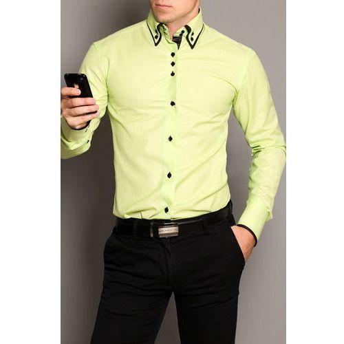 3806-2 Koszula męska slim fit - połysk -zielony, 1 rozmiar