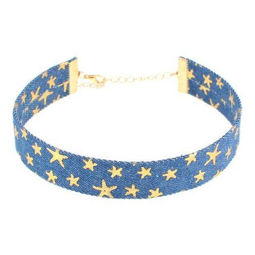 Choker gwiazdy ciemny niebieski - ciemny niebieski, kolor niebieski