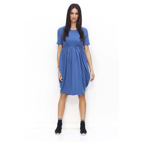 Jeansowa sukienka bombka z krótkim rękawem i krótkim rękawem marki Makadamia