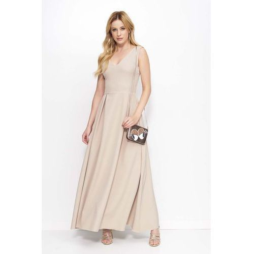 Beżowa sukienka długa rozkloszowana na szerokich ramiączkach marki Makadamia